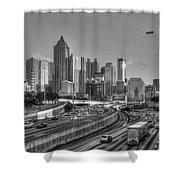Atlanta Sunset Good Year Blimp Overhead Cityscape Art Shower Curtain