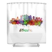 Atlanta V2 Skyline In Watercolor Shower Curtain