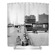 Atlantic City 1920 Boardwalk Promenade, Beach Sand, Signs Apollo Theatre, Mitzi  Shower Curtain