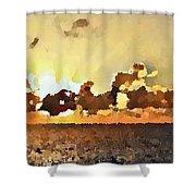 Atlantic Ocean Sunset In Oil  Shower Curtain