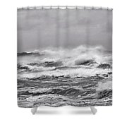 Atlantic Storm In Black And White Shower Curtain