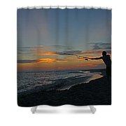 Atlantic Sunset Fishing Shower Curtain