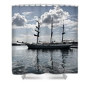 Atlantis - A Three Masts Vessel In Port Mahon Crystaline Water Shower Curtain