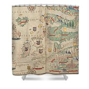 Atlas Miller Nautical Atlas Shower Curtain