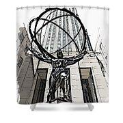 Atlas Sculpture Sketch In New York City Shower Curtain