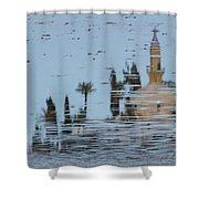 Atmospheric Hala Sultan Tekke Reflection At Larnaca Salt Lake Shower Curtain