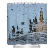 Atmospheric Hala Sultan Tekke Reflection At Larnaca Salt Lake Shower Curtain