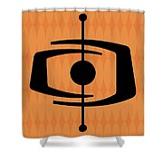 Atomic Shape 1 On Orange Shower Curtain