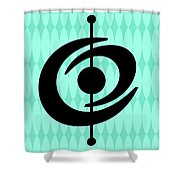 Atomic Shape 2 On Aqua Shower Curtain