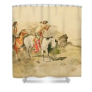 Attack On The Muleteers Shower Curtain