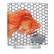 Attention Goldfish Shoppers Shower Curtain