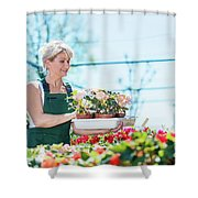 Attractive Gardener Selecting Flowers In A Gardening Center. Shower Curtain
