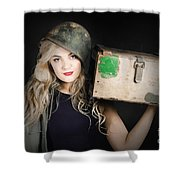 Attractive Pinup Girl. Blond Bombshell Shower Curtain