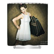 Attractive Young 1950s Woman Ready For Travel Tour Shower Curtain