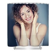 Attractive Young Woman Touching Her Hair And Face. Shower Curtain