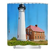 Au Sable Lighthouse In Pictured Rocks National Lakeshore-michigan  Shower Curtain