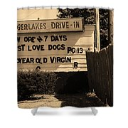 Auburn, Ny - Drive-in Theater Sepia Shower Curtain