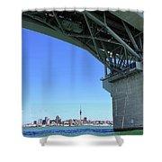 Auckland Harbour And Bridge Shower Curtain