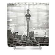 Auckland New Zealand Sky Tower Bw Texture Shower Curtain