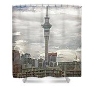 Auckland New Zealand Sky Tower Textured Shower Curtain