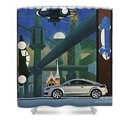 Audi Gaudi - The Retro Of The Future Shower Curtain