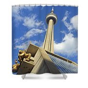 Audience Sculpture And The Cn Tower Shower Curtain