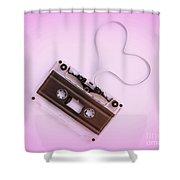 Audio Cassette Love Pink Shower Curtain