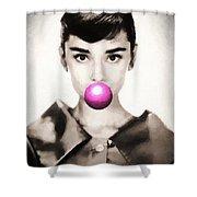 Audrey Hepburn Bubblegum Shower Curtain