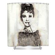 Audrey Hepburn Portrait 01 Shower Curtain