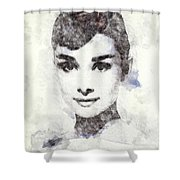 Audrey Hepburn Portrait 02 Shower Curtain