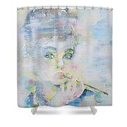 Audrey Hepburn - Watercolor Portrait.16 Shower Curtain