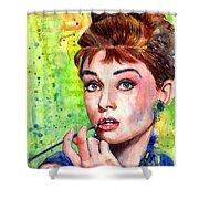 Audrey Hepburn Watercolor Shower Curtain