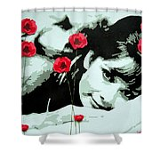 Audrey In Poppies Shower Curtain