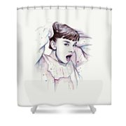 Audrey - Purple Scream Shower Curtain