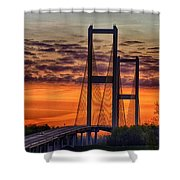 Audubon Bridge Sunrise Shower Curtain