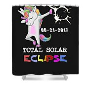 August 21 Solar Total Eclipse Funny Dabbing Unicorn Shower Curtain