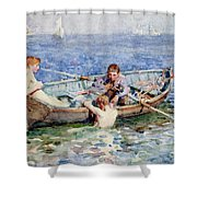 August Blue Shower Curtain by Henry Scott Tuke