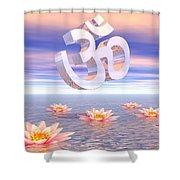 Aum - Om Upon Waterlilies - 3d Render Shower Curtain