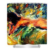Aura Of Love - Palette Knife Oil Painting On Canvas By Leonid Afremov Shower Curtain