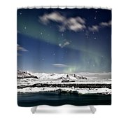 Aurora At Glacier Lagoon Shower Curtain
