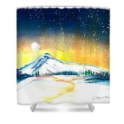 Mount Hood's Starry Crown Shower Curtain