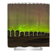 Aurora Borealis Behind Grain Bins Shower Curtain