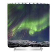 Aurora Borealis Over Blafjellet Shower Curtain