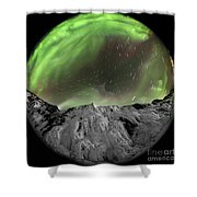 Aurora Borealis Over Iceland, Fisheye Shower Curtain