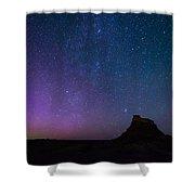 Aurora Borealis Over Lindisfarne Castle Shower Curtain