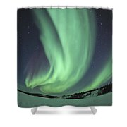Aurora Borealis Over Prosperous Lake Shower Curtain