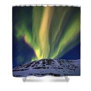 Aurora Borealis Over Toviktinden Shower Curtain