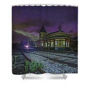 Aurora Over The Crawford Notch Depot Shower Curtain