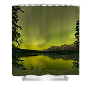 Aurora Over The Forest Shower Curtain