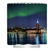 Aurora Over The Stockholm City Hall And Kungsholmen Shower Curtain